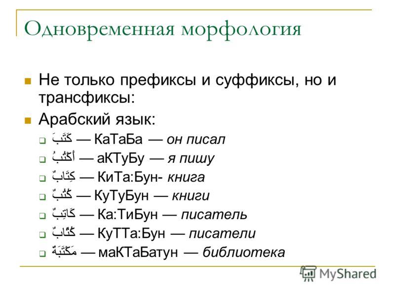 Одновременная морфология Не только префиксы и суффиксы, но и трансфиксы: Арабский язык: كَتَبَ КаТаБа он писал أَكْتُبُ аКТуБу я пишу كِتَابٌ КиТа:Бун