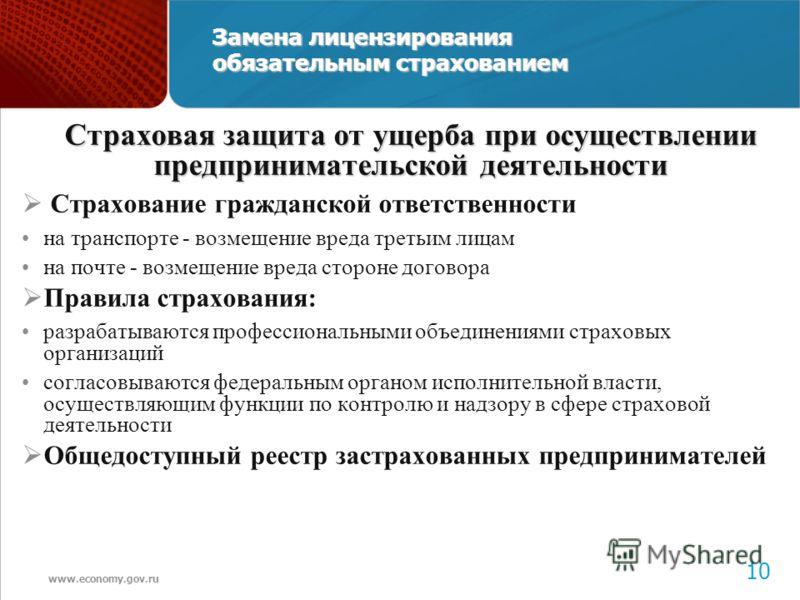 www.economy.gov.ru 11 Замена лицензирования обязательным страхованием Страховая защита от ущерба при осуществлении предпринимательской деятельности Страхование гражданской ответственности на транспорте - возмещение вреда третьим лицам на почте - возм