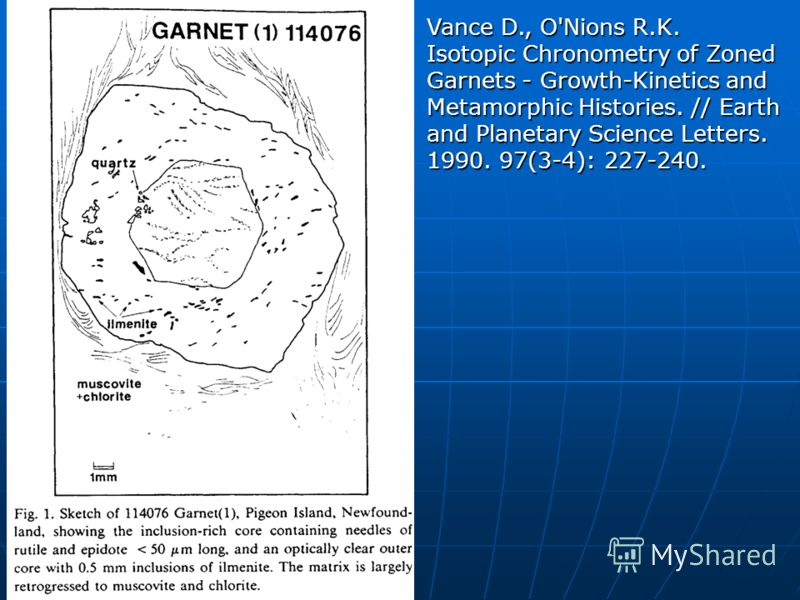 Vance D., O'Nions R.K. Isotopic Chronometry of Zoned Garnets - Growth-Kinetics and Metamorphic Histories. // Earth and Planetary Science Letters. 1990. 97(3-4): 227-240.