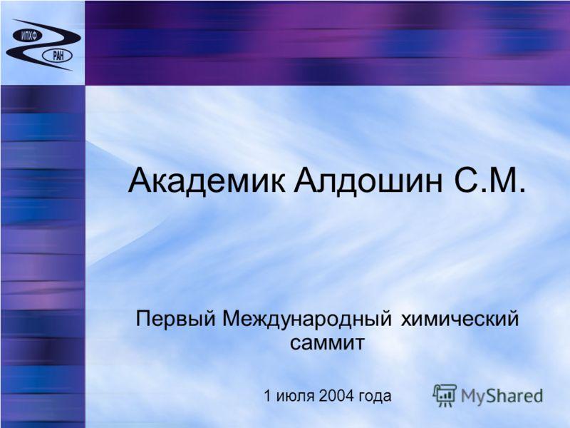 Академик Алдошин С.М. Первый Международный химический саммит 1 июля 2004 года