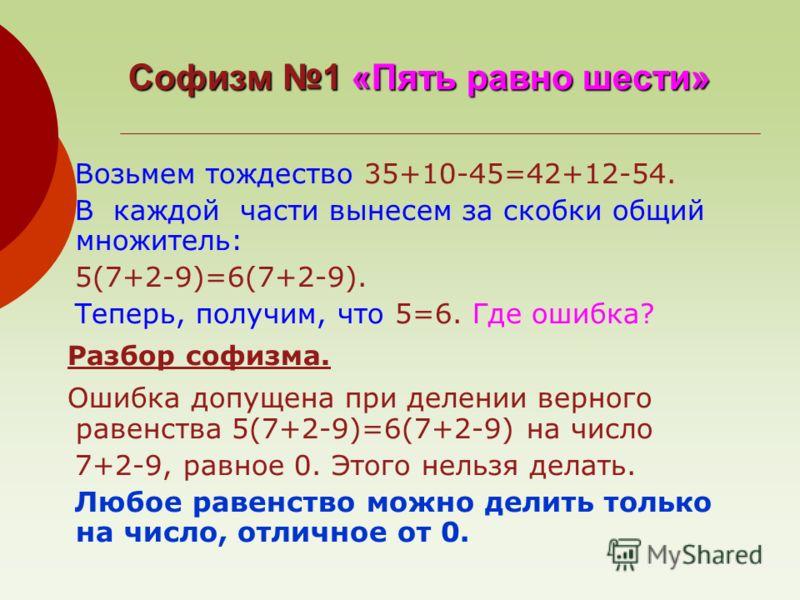 Софизм 1 «Пять равно шести» Возьмем тождество 35+10-45=42+12-54. В каждой части вынесем за скобки общий множитель: 5(7+2-9)=6(7+2-9). Теперь, получим, что 5=6. Где ошибка? Разбор софизма. Ошибка допущена при делении верного равенства 5(7+2-9)=6(7+2-9