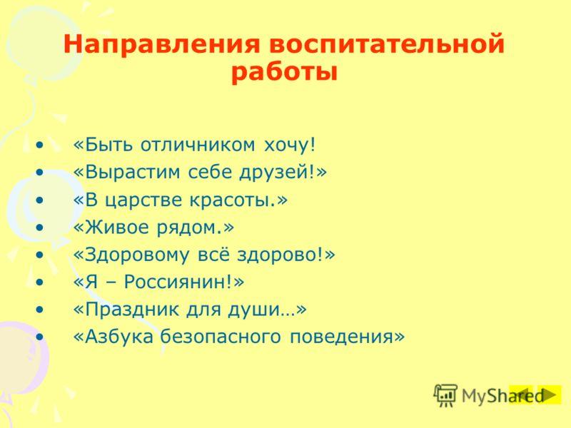 Направления воспитательной работы «Быть отличником хочу! «Вырастим себе друзей!» «В царстве красоты.» «Живое рядом.» «Здоровому всё здорово!» «Я – Россиянин!» «Праздник для души…» «Азбука безопасного поведения»
