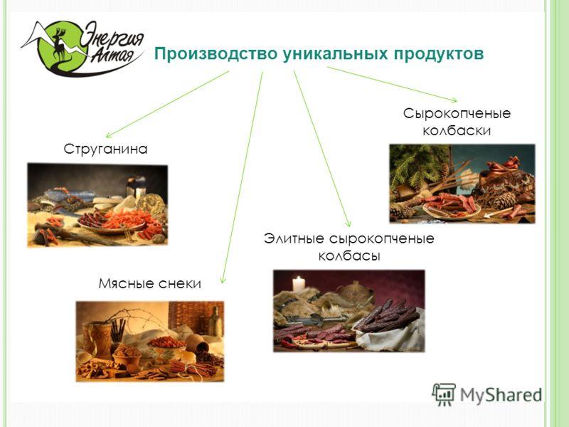 Производство уникальных продуктов Струганина Мясные снеки Элитные сырокопченые колбасы Сырокопченые колбаски