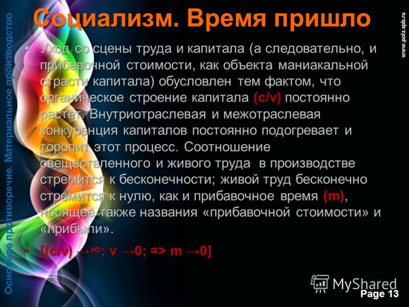 Free Powerpoint Templates Page 12 www.polz.spb.ru Социализм. Время пришло В материальном производстве:В материальном производстве: Общественная форма производства во всех отраслях материального сектора (носящая всеобщий, всеохватывающий характер) и ч