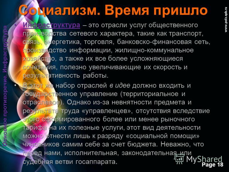 Free Powerpoint Templates Page 17 www.polz.spb.ru Социализм. Время пришло для целей увеличения и облегчения производства прибылей корпораций. для целей увеличения и облегчения производства прибылей корпораций. Кроме корпораций в состав «избранных» гл