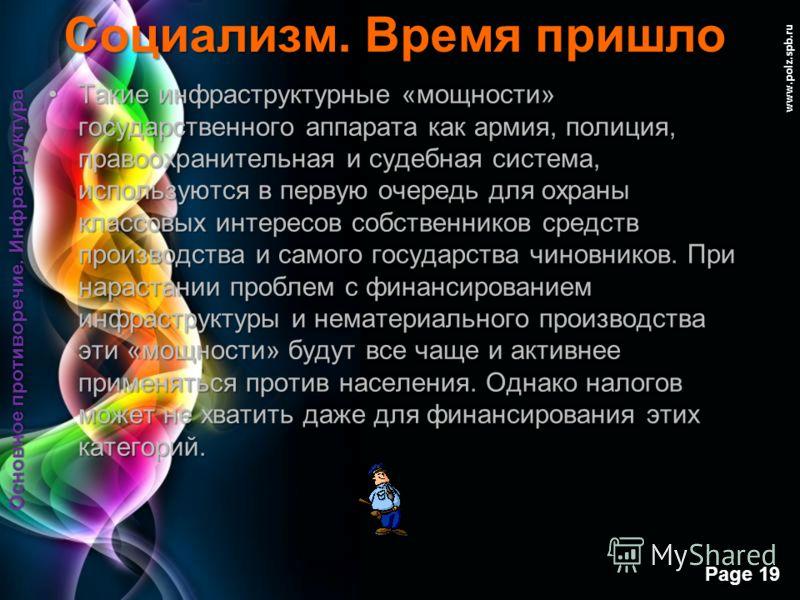 Free Powerpoint Templates Page 18 www.polz.spb.ru Социализм. Время пришло Инфраструктура – это отрасли услуг общественного производства сетевого характера, такие как транспорт, связь, энергетика, торговля, банковско-финансовая сеть, производство инфо