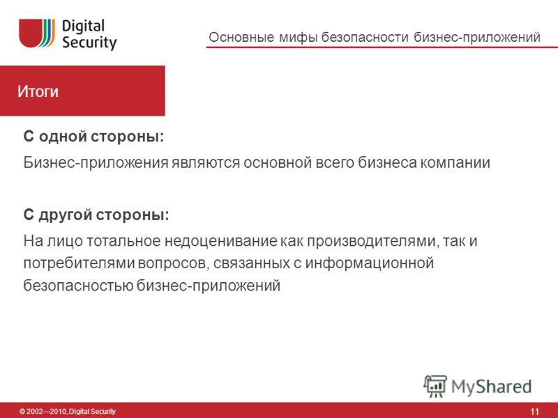 © 20022010, Digital Security Итоги 11 Основные мифы безопасности бизнес-приложений С одной стороны: Бизнес-приложения являются основной всего бизнеса компании С другой стороны: На лицо тотальное недоценивание как производителями, так и потребителями
