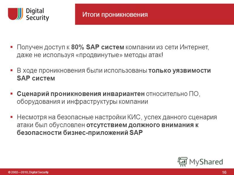 © 20022010, Digital Security Итоги проникновения 16 Получен доступ к 80% SAP систем компании из сети Интернет, даже не используя «продвинутые» методы атак! В ходе проникновения были использованы только уязвимости SAP систем Сценарий проникновения инв