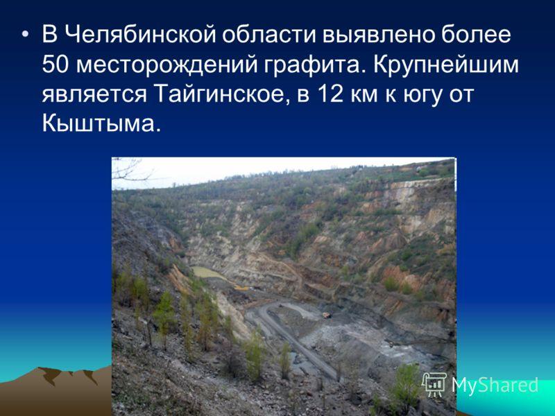 В Челябинской области выявлено более 50 месторождений графита. Крупнейшим является Тайгинское, в 12 км к югу от Кыштыма.