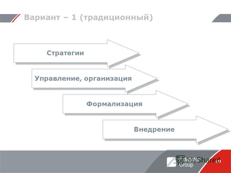 10 Вариант – 1 (традиционный) Стратегии Управление, организация Формализация Внедрение