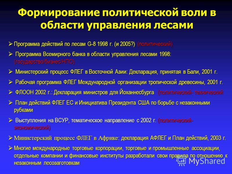 Программа действий по лесам G-8 1998 г. (и 2005?) (политический) Программа действий по лесам G-8 1998 г. (и 2005?) (политический) Программа Всемирного банка в области управления лесами 1998: (государство/бизнес/НПО) Программа Всемирного банка в облас