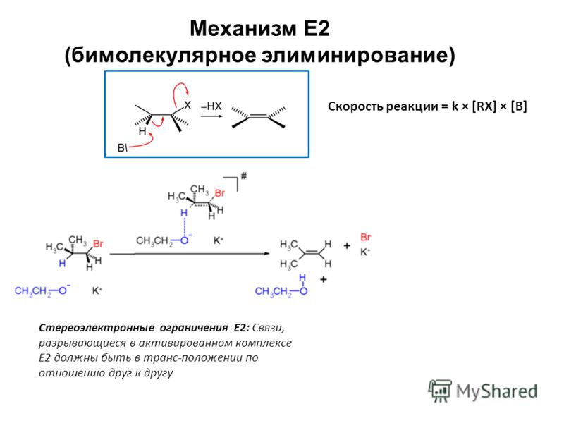 Механизм Е2 (бимолекулярное элиминирование) Скорость реакции = k × [RX] × [В] Стереоэлектронные ограничения Е2: Связи, разрывающиеся в активированном комплексе Е2 должны быть в транс-положении по отношению друг к другу