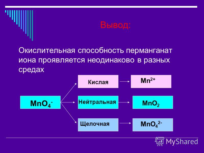 Вывод: Окислительная способность перманганат иона проявляется неодинаково в разных средах MnO 4 - Кислая Нейтральная Щелочная Mn 2+ MnO 2 MnO 4 2-