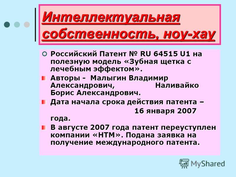 Интеллектуальная собственность, ноу-хау Российский Патент RU 64515 U1 на полезную модель «Зубная щетка с лечебным эффектом». Российский Патент RU 64515 U1 на полезную модель «Зубная щетка с лечебным эффектом». Авторы - Малыгин Владимир Александрович,