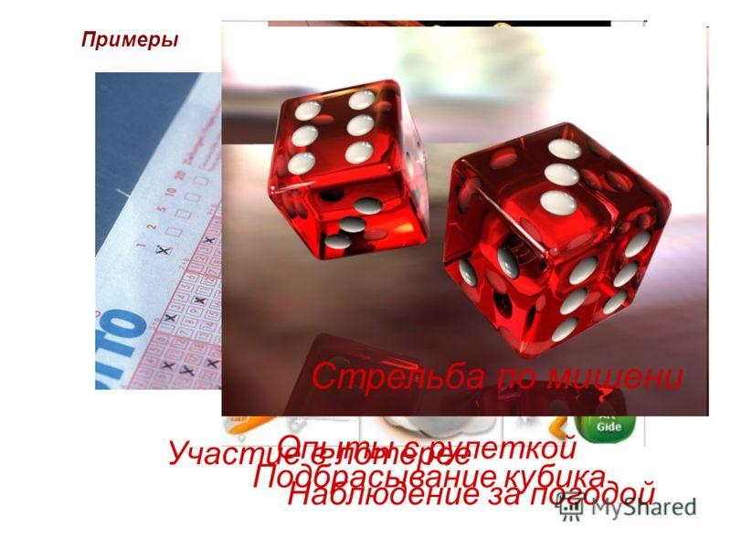 Примеры Стрельба по мишени Участие в лотерее Наблюдение за погодой Опыты с рулеткой Подбрасывание кубика