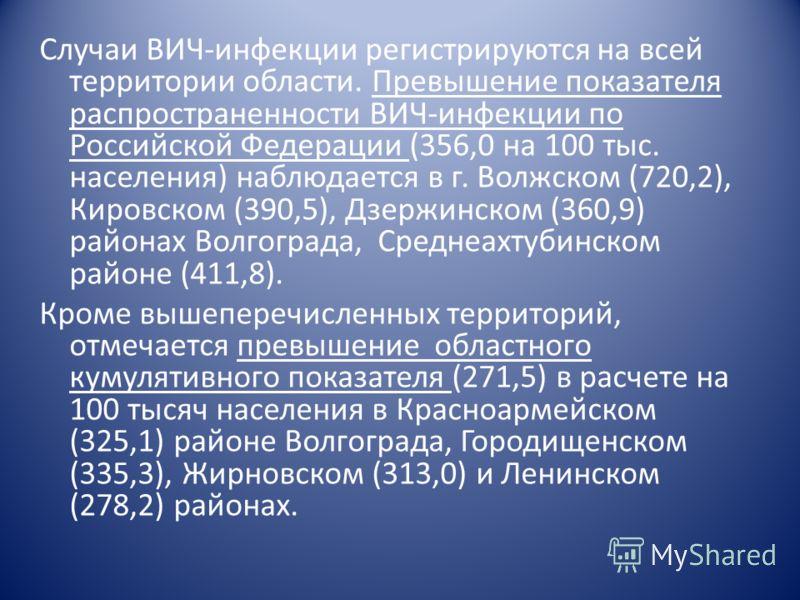 Случаи ВИЧ-инфекции регистрируются на всей территории области. Превышение показателя распространенности ВИЧ-инфекции по Российской Федерации (356,0 на 100 тыс. населения) наблюдается в г. Волжском (720,2), Кировском (390,5), Дзержинском (360,9) район