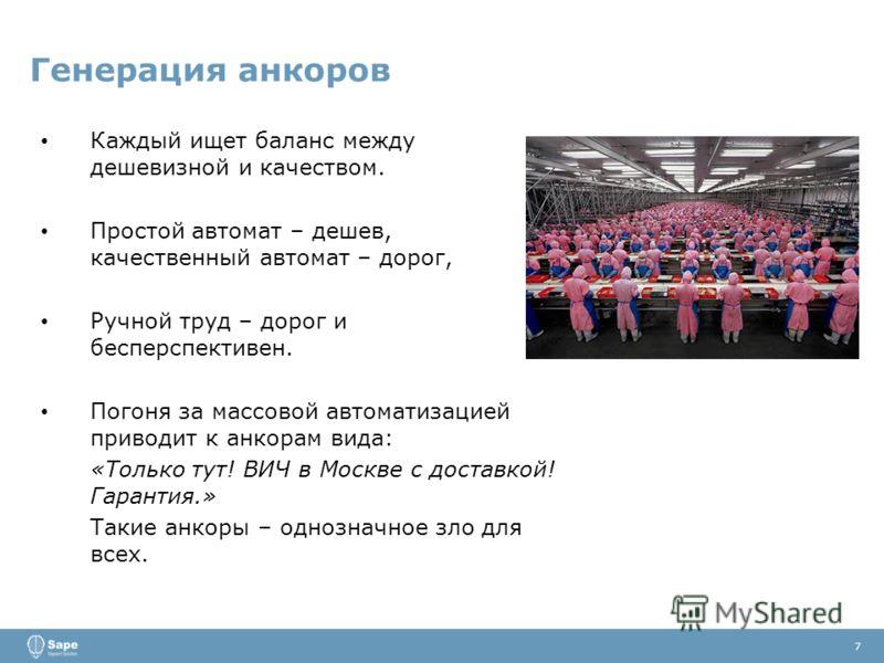 Генерация анкоров 7 Каждый ищет баланс между дешевизной и качеством. Простой автомат – дешев, качественный автомат – дорог, Ручной труд – дорог и бесперспективен. Погоня за массовой автоматизацией приводит к анкорам вида: «Только тут! ВИЧ в Москве с