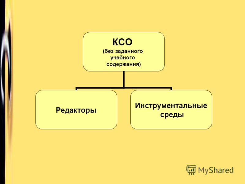 КСО (без заданного учебного содержания) Редакторы Инструментальные среды