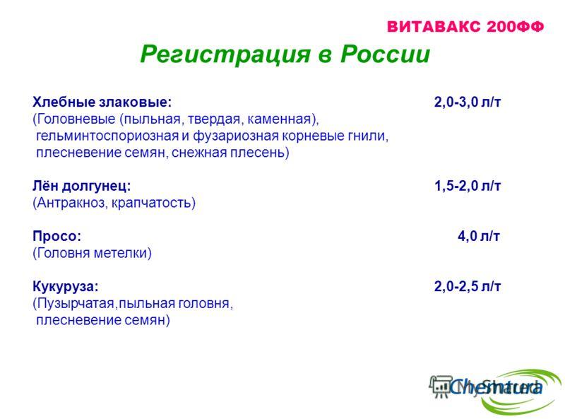 Регистрация в России Хлебные злаковые: 2,0-3,0 л/т (Головневые (пыльная, твердая, каменная), гельминтоспориозная и фузариозная корневые гнили, плесневение семян, снежная плесень) Лён долгунец: 1,5-2,0 л/т (Антракноз, крапчатость) Просо: 4,0 л/т (Голо