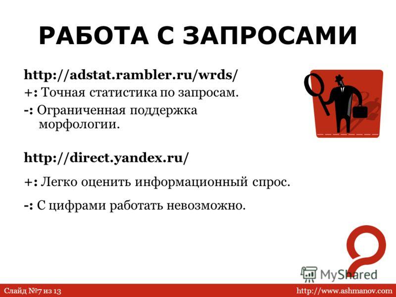 http://www.ashmanov.comСлайд 7 из 13 РАБОТА С ЗАПРОСАМИ http://adstat.rambler.ru/wrds/ +: Точная статистика по запросам. -: Ограниченная поддержка морфологии. http://direct.yandex.ru/ +: Легко оценить информационный спрос. -: С цифрами работать невоз