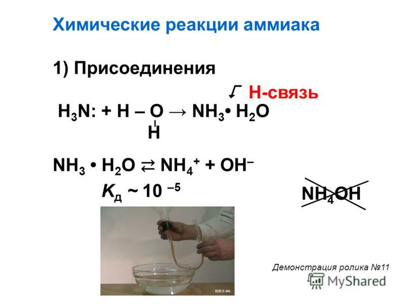 Химические реакции аммиака 1) Присоединения H 3 N: + H – O NH 3 H 2 O H NH 3 H 2 O NH 4 + + OH – Н-связь K д ~ 10 –5 NH 4 OH Демонстрация ролика 11