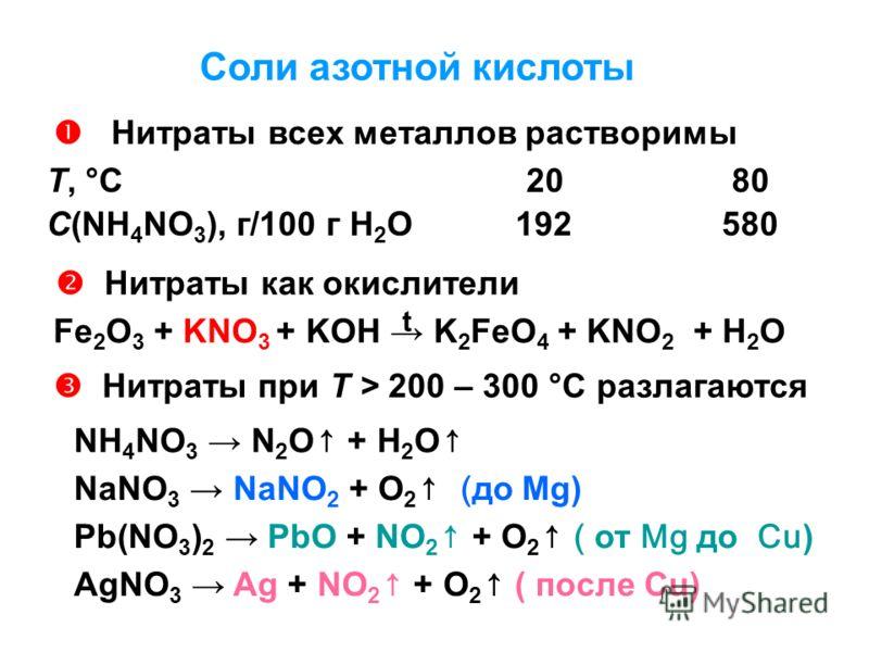 Соли азотной кислоты Нитраты всех металлов растворимы Т, °С 20 80 С(NH 4 NO 3 ), г/100 г Н 2 О 192 580 Нитраты как окислители Fe 2 O 3 + KNO 3 + KOH K 2 FeO 4 + KNO 2 + H 2 O Нитраты при T > 200 – 300 °С разлагаются NH 4 NO 3 N 2 O + H 2 O NaNO 3 NaN