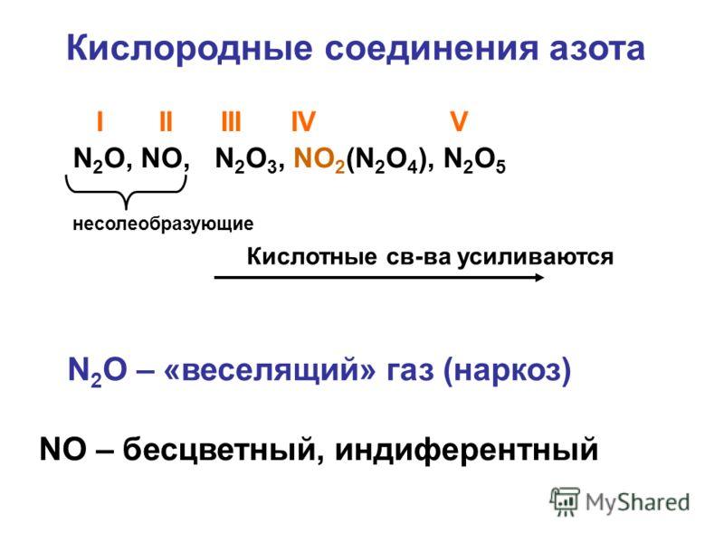 Кислородные соединения азота I II III IV V N 2 O, NO, N 2 O 3, NO 2 (N 2 O 4 ), N 2 O 5 несолеобразующие Кислотные св-ва усиливаются N 2 O – «веселящий» газ (наркоз) NO – бесцветный, индиферентный