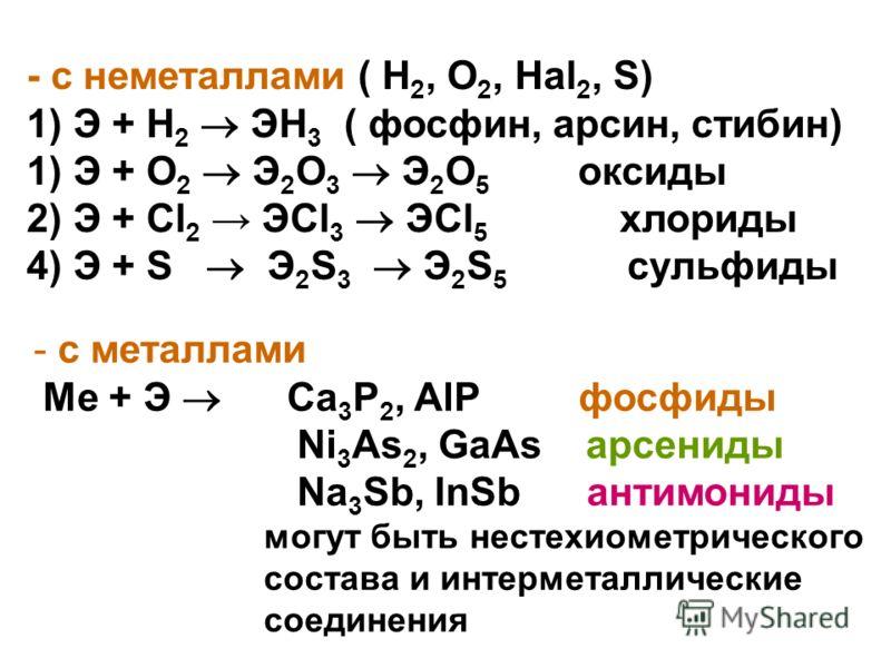 - с металлами Ме + Э Ca 3 P 2, AlP фосфиды Ni 3 As 2, GaAs арсениды Na 3 Sb, InSb антимониды могут быть нестехиометрического состава и интерметаллические соединения - с неметаллами ( Н 2, O 2, Hal 2, S) 1) Э + Н 2 ЭН 3 ( фосфин, арсин, стибин) 1) Э +