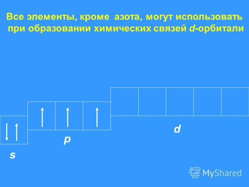 Все элементы, кроме азота, могут использовать при образовании химических связей d-орбитали s p d