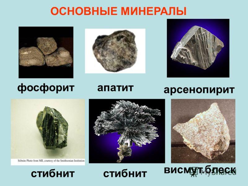 ОСНОВНЫЕ МИНЕРАЛЫ апатит арсенопирит фосфорит висмут.блеск стибнит