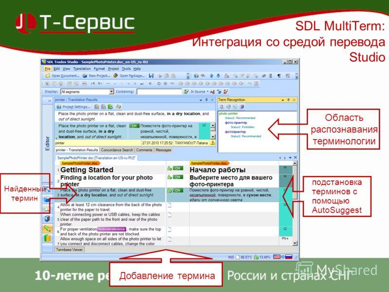 SDL MultiTerm: Интеграция со средой перевода Studio Область распознавания терминологии Найденный термин подстановка терминов с помощью AutoSuggest Добавление термина