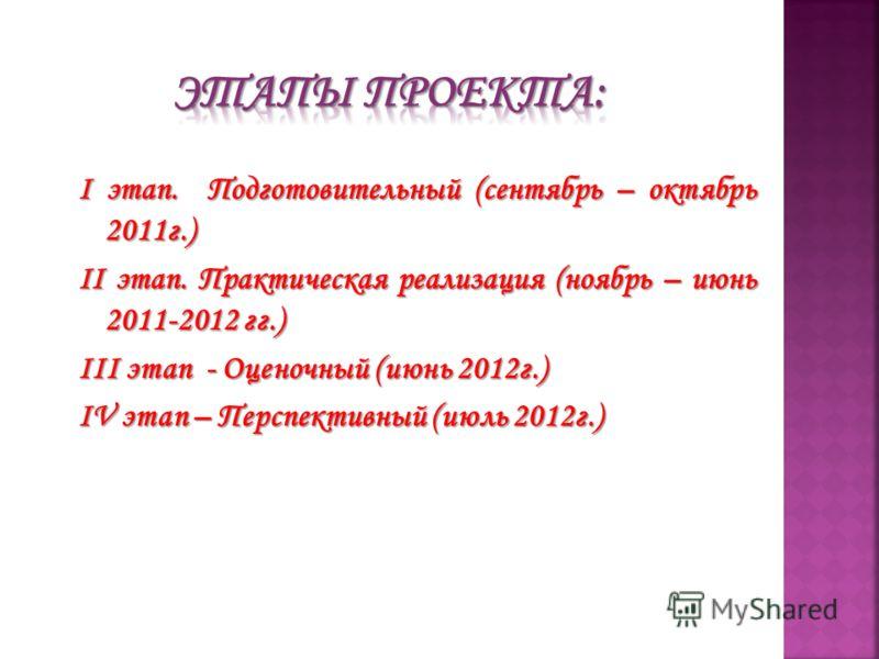I этап. Подготовительный (сентябрь – октябрь 2011г.) II этап. Практическая реализация (ноябрь – июнь 2011-2012 гг.) III этап - Оценочный (июнь 2012г.) IV этап – Перспективный (июль 2012г.)