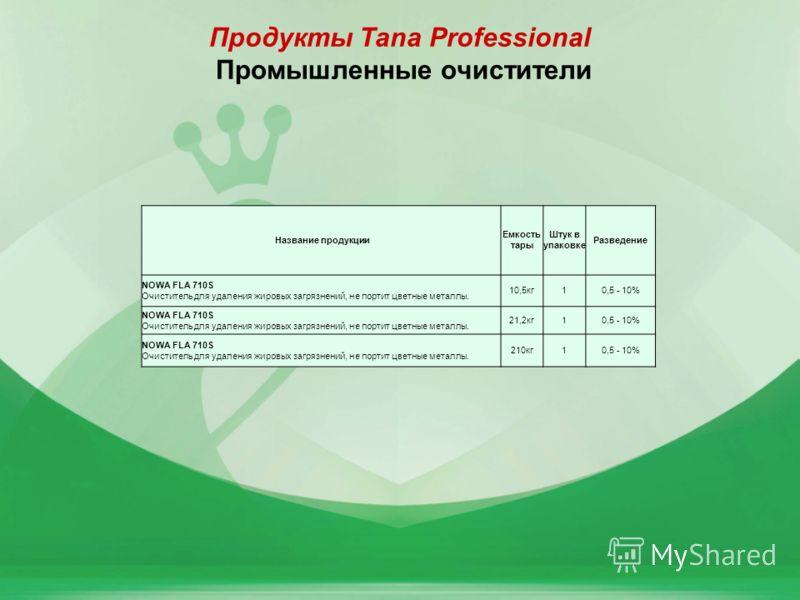 8 Продукты Tana Professional Промышленные очистители Название продукции Емкость тары Штук в упаковке Разведение NOWA FLA 710S Очиститель для удаления жировых загрязнений, не портит цветные металлы. 10,5кг10,5 - 10% NOWA FLA 710S Очиститель для удален