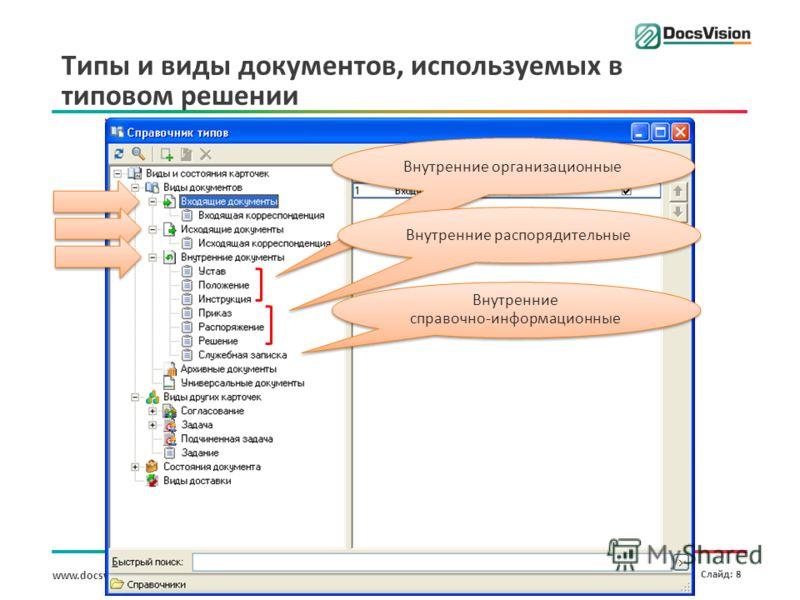 www.docsvision.com Слайд: 8 Типы и виды документов, используемых в типовом решении Внутренние организационные Внутренние распорядительные Внутренние справочно-информационные Внутренние справочно-информационные