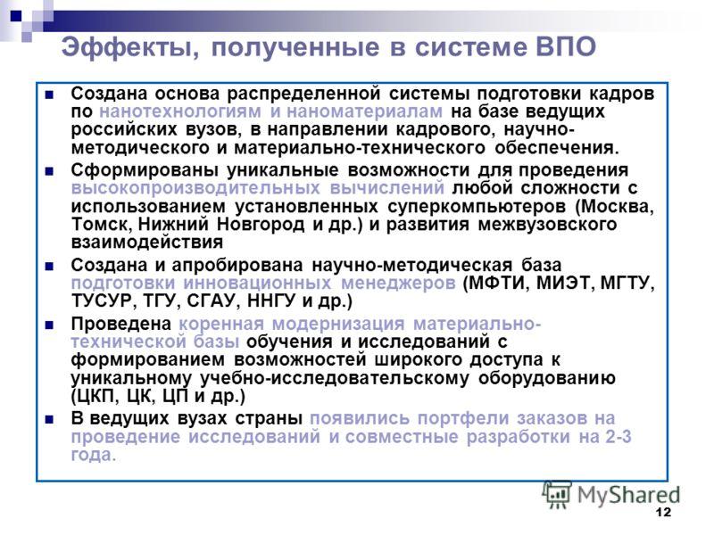 12 Эффекты, полученные в системе ВПО Создана основа распределенной системы подготовки кадров по нанотехнологиям и наноматериалам на базе ведущих российских вузов, в направлении кадрового, научно- методического и материально-технического обеспечения.