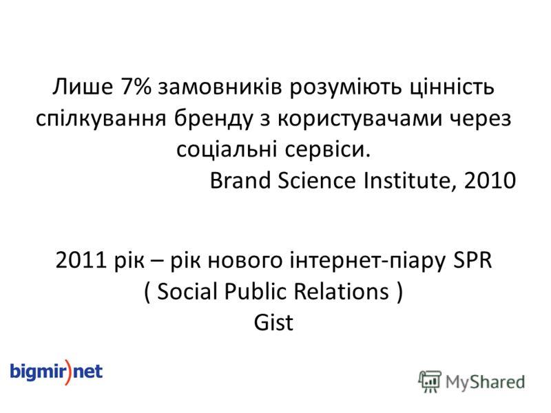 2011 рік – рік нового інтернет-піару SPR ( Social Public Relations ) Gist Лише 7% замовників розуміють цінність спілкування бренду з користувачами через соціальні сервіси. Brand Science Institute, 2010