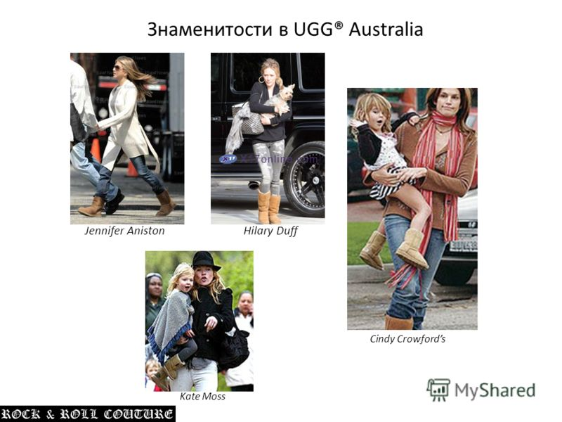 Знаменитости в UGG® Australia Jennifer AnistonHilary Duff Cindy Crowfords Kate Moss