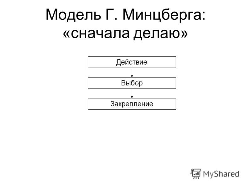 Модель Г. Минцберга: «сначала делаю» Действие Выбор Закрепление