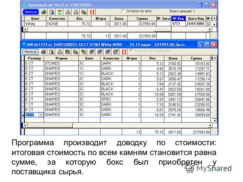Программа производит доводку по стоимости: итоговая стоимость по всем камням становится равна сумме, за которую бокс был приобретен у поставщика сырья.