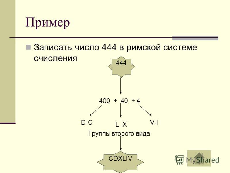 Пример Записать число 444 в римской системе счисления D-C 400 + 40 + 4 L -X V-I Группы второго вида 444 CDXLIV