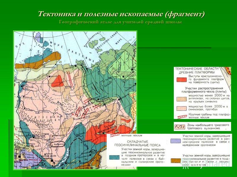 Тектоника и полезные ископаемые (фрагмент) Географический атлас для учителей средней школы