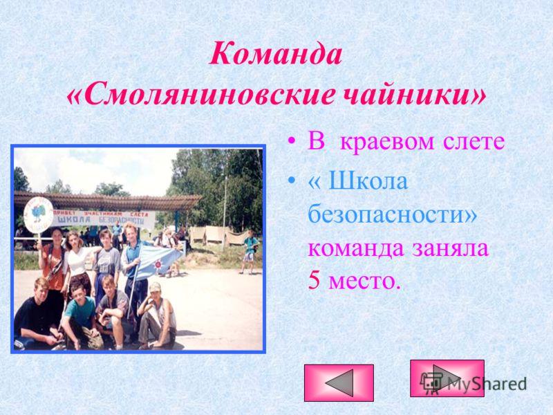 Команда «Смоляниновские чайники» В краевом слете « Школа безопасности» команда заняла 5 место.