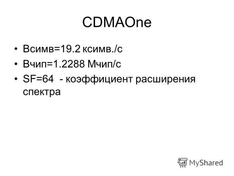 CDMAOne Bсимв=19.2 ксимв./с Вчип=1.2288 Мчип/с SF=64 - коэффициент расширения спектра