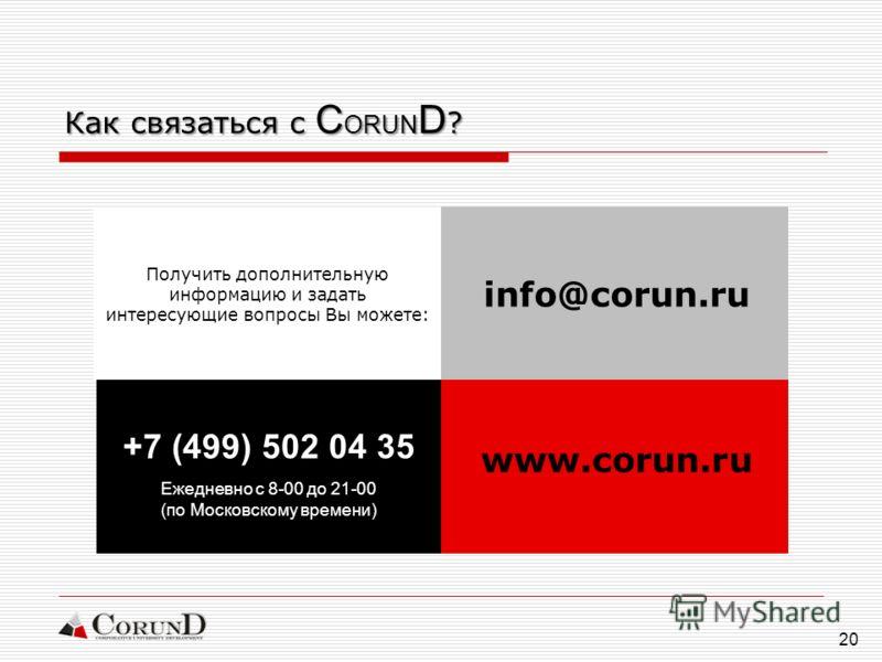 20 Получить дополнительную информацию и задать интересующие вопросы Вы можете: Как связаться с C ORUN D ? www.corun.ru info@corun.ru +7 (499) 502 04 35 Ежедневно с 8-00 до 21-00 (по Московскому времени)