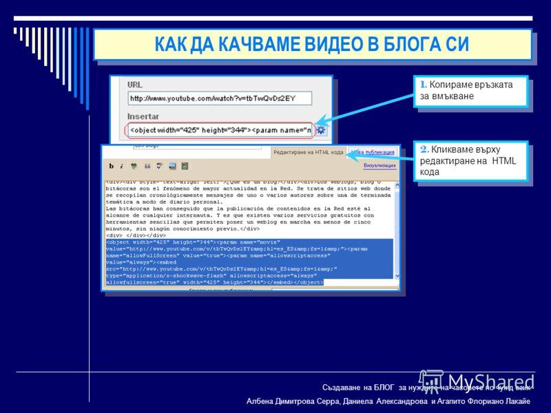 Създаване на БЛОГ за нуждите на часовете по чужд език Албена Димитрова Серра, Даниела Александрова и Агапито Флориано Лакайе 1. Копираме връзката за вмъкване 2. Кликваме върху редактиране на HTML кода КАК ДА КАЧВАМЕ ВИДЕО В БЛОГА СИ