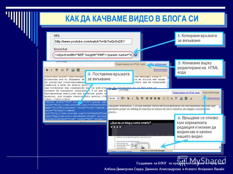 Създаване на БЛОГ за нуждите на часовете по чужд език Албена Димитрова Серра, Даниела Александрова и Агапито Флориано Лакайе 1. Копираме връзката за вмъкване 2. Кликваме върху редактиране на HTML кода 3. Поставяме връзката за вмъкване 4. Връщаме се о