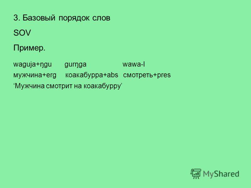3. Базовый порядок слов SOV Пример. waguja+ŋgu gurŋga wawa-l мужчина+erg коакабурра+abs смотреть+pres Мужчина смотрит на коакабурру