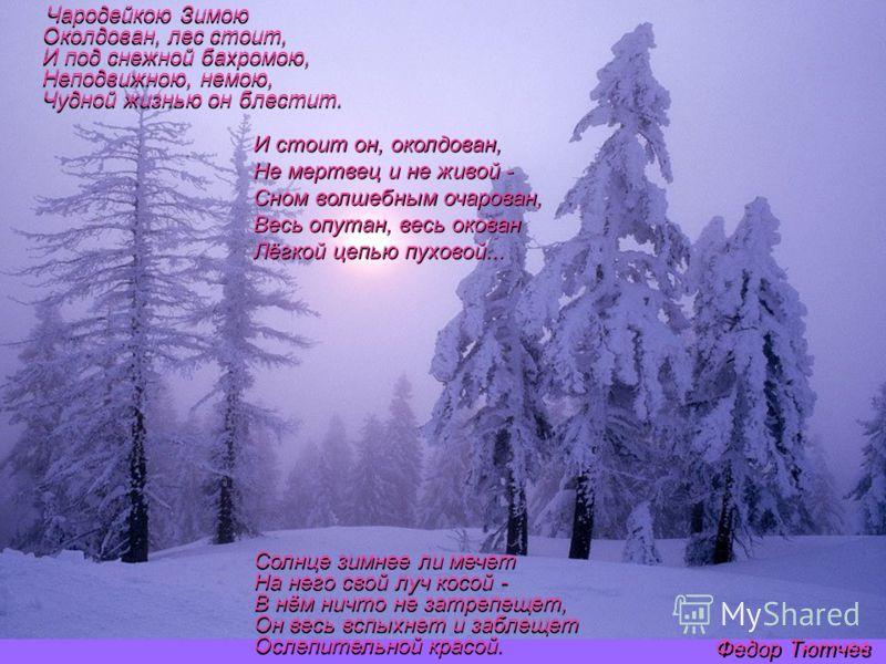 Чародейкою Зимою Околдован, лес стоит, И под снежной бахромою, Неподвижною, немою, Чудной жизнью он блестит. Солнце зимнее ли мечет На него свой луч косой - В нём ничто не затрепещет, Он весь вспыхнет и заблещет Ослепительной красой. И стоит он, окол
