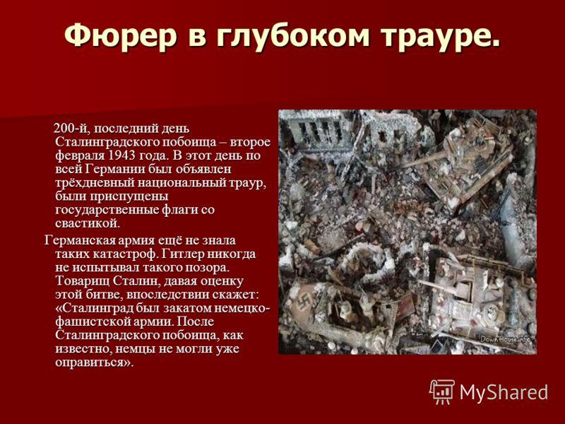 Фюрер в глубоком трауре. 200-й, последний день Сталинградского побоища – второе февраля 1943 года. В этот день по всей Германии был объявлен трёхдневный национальный траур, были приспущены государственные флаги со свастикой. 200-й, последний день Ста