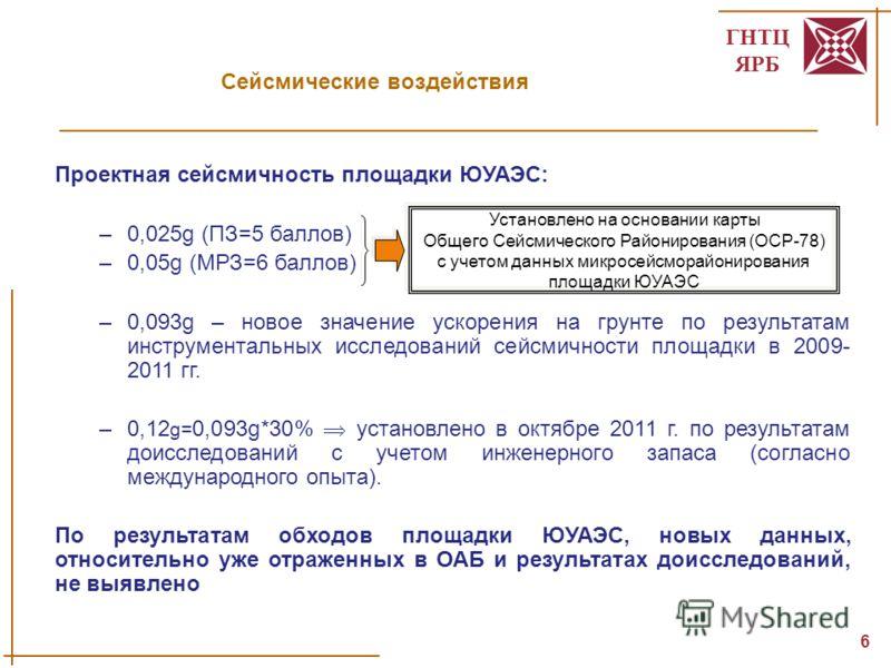 ГНТЦ ЯРБ 6 Проектная сейсмичность площадки ЮУАЭС: –0,025g (ПЗ=5 баллов) –0,05g (МРЗ=6 баллов) –0,093g – новое значение ускорения на грунте по результатам инструментальных исследований сейсмичности площадки в 2009- 2011 гг. –0,12 g= 0,093g*30% установ